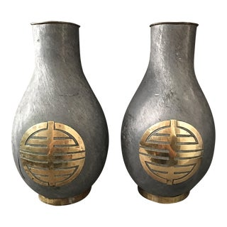 Chinoiserie Brass & Iron Urns - a Pair