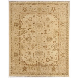 "Hand-Knotted Indian Rug of Oushak Design- 8'1""x 9'11"""