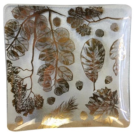 Image of Gay Fad Plate with Gold Tone Acorns and Leaves