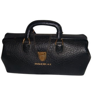 Black Textured Leather Doctor's Bag