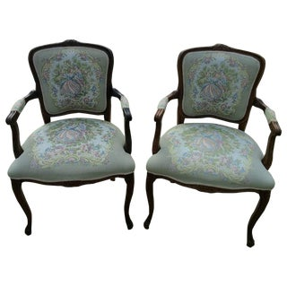 Antique French Needlepoint Fauteuils - a Pair