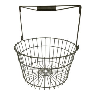 Vintage Farmhouse Metal Wire Egg Gathering Basket