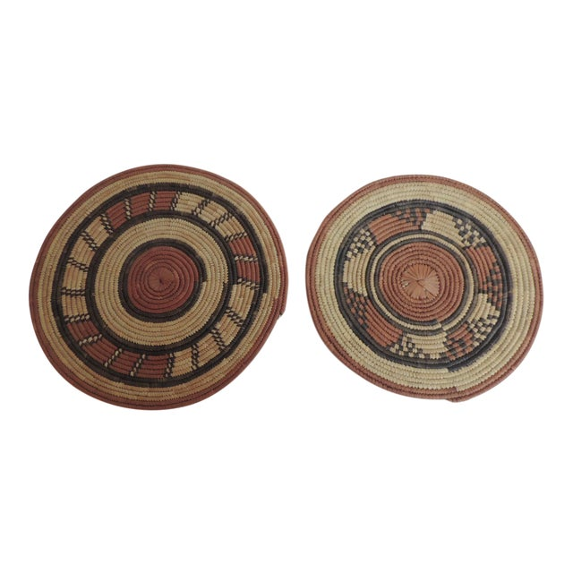 Vintage African Placemats or Wall Accents - A Pair - Image 1 of 4