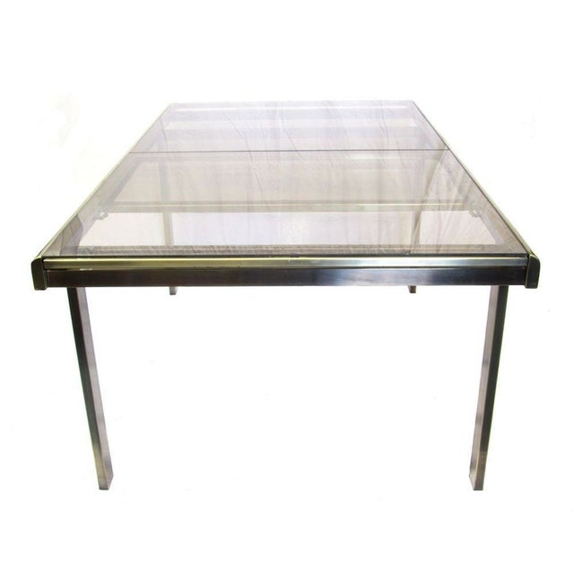 Image of Antique Brass & Glass Extendable Dining Table