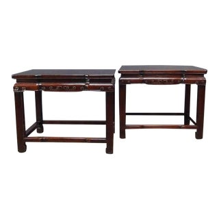 A Pair of Chinese Rosewood Rectangular Side Tables