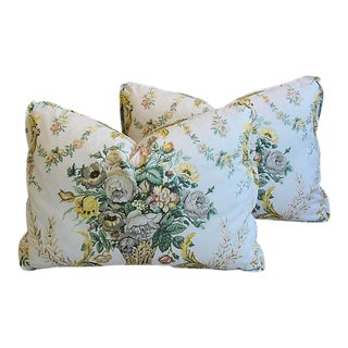 "Custom Tailored Schumacher Floral Bouquet Feather/Down Pillows 24"" X 17"" - Pair"