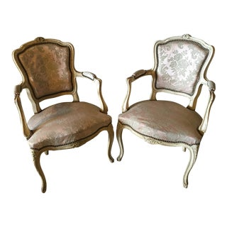 Antique 1920s Refinished Louis XV Armchairs - Pair