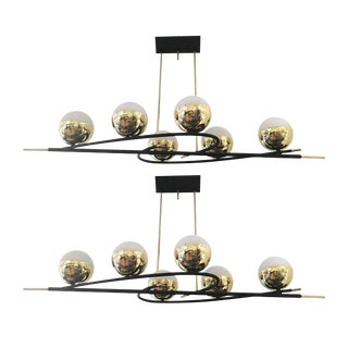 Stunning Elongated Mid-Century Chandelier with Six Globes
