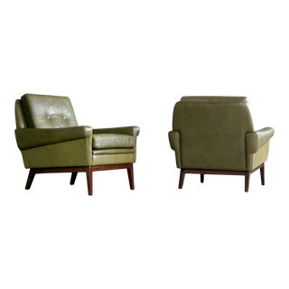 Svend Skipper Green Leather Lounge Chairs - A Pair