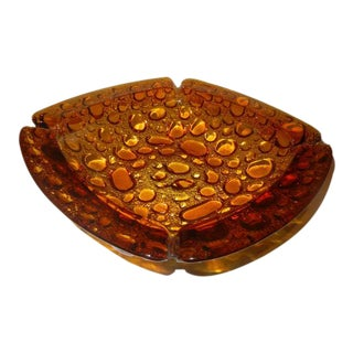 Vintage Bubble Lava Glass Ashtray