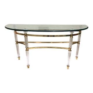 Italian Mid-Century Brass & Crystal Console Table
