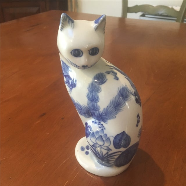 Blue & White Lotus Cat Figurine - Image 2 of 6