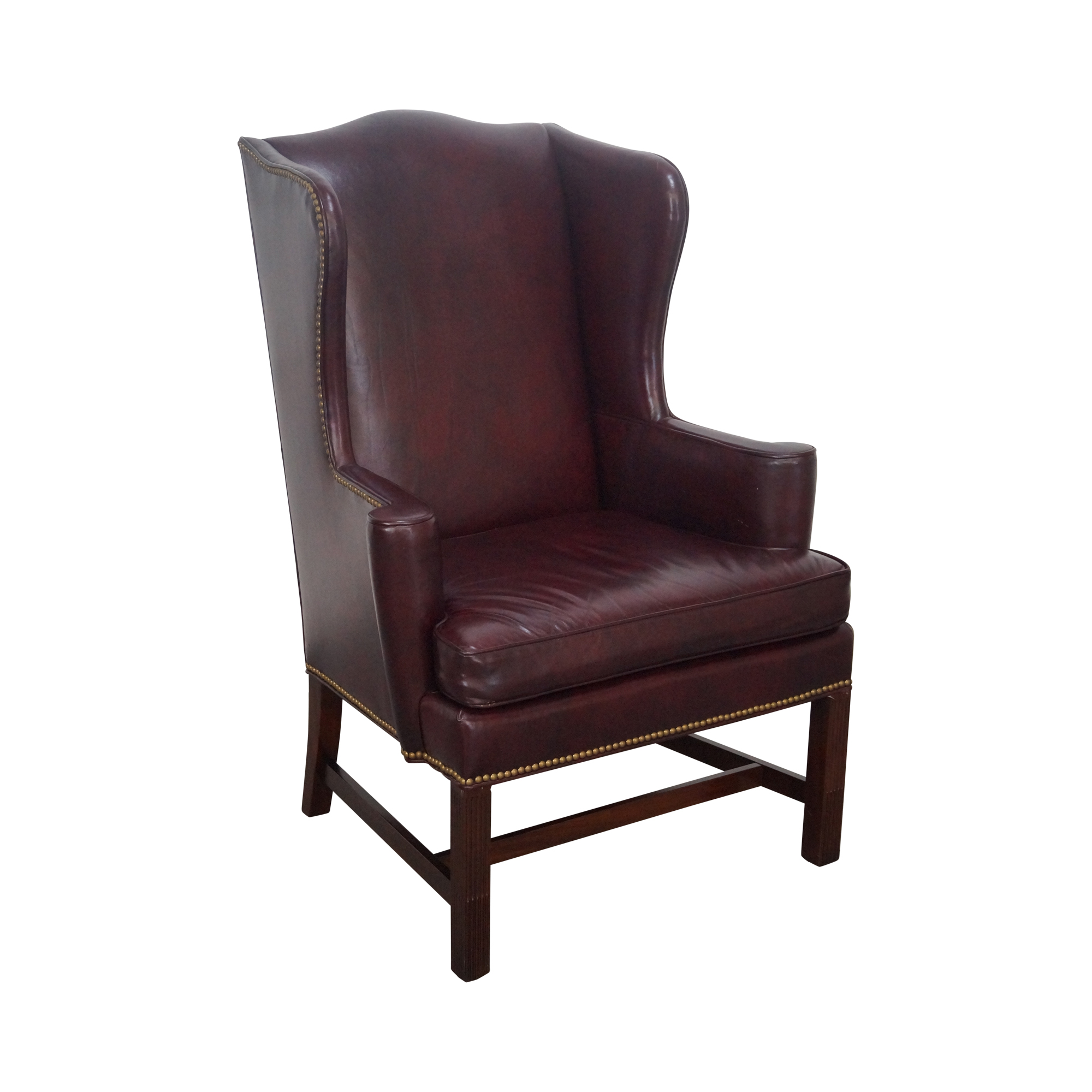 Hickory oxblood leather wingback chair chairish