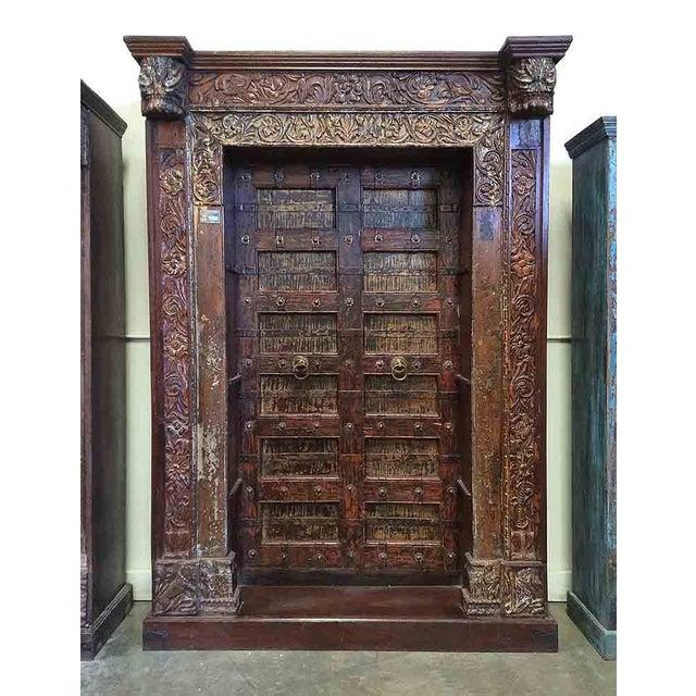 Antique Architectural Yellow/Orange Door Bookcase - Image 2 of 2