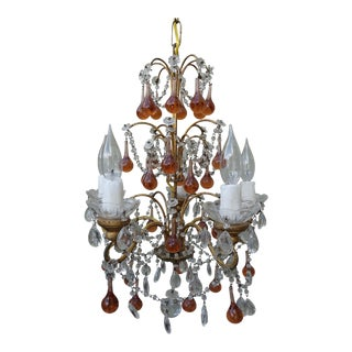 Six-Light Amber Colored Macaroni Beaded Chandelier