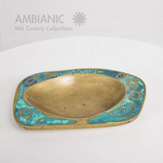 Mexican Modernist Pepe Mendoza Dish Mid-Century Brass Malachite