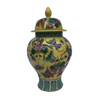 Chinese Chinoiserie Colorful Butterfly Porcelain Ginger Jar
