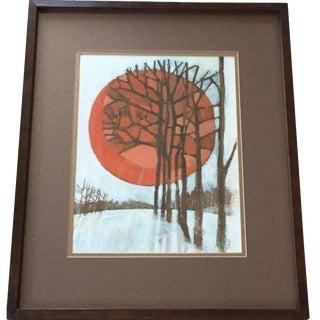 Vintage Oil Landscape Painting Winter Trees
