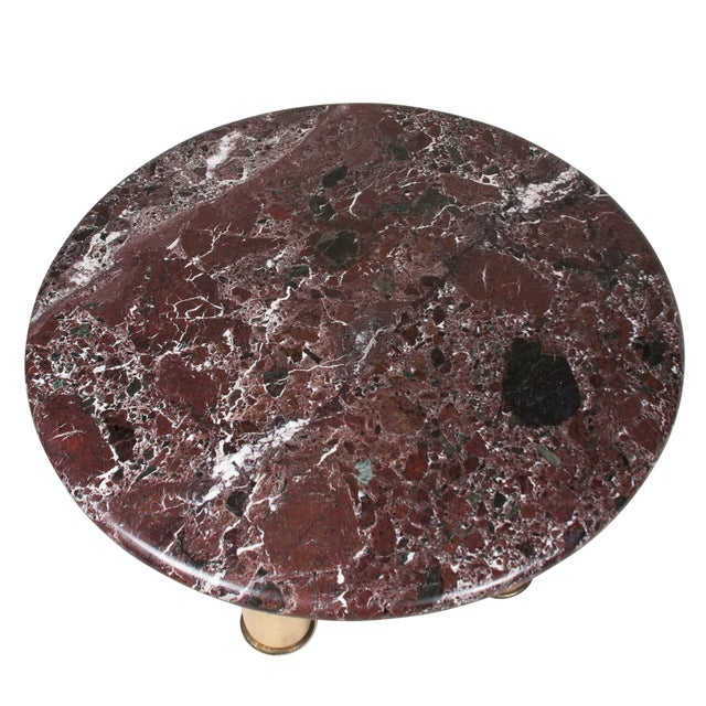 Marble-Top Circular End Table, 1980s - Image 4 of 6