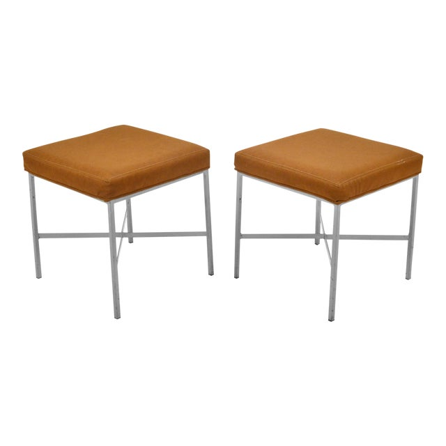 Shelby Williams Paul McCobb Style Ultrasuede Stools- a Pair - Image 1 of 7