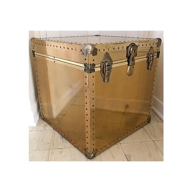 Brass and Wood Trunk / Side Table - Image 2 of 7