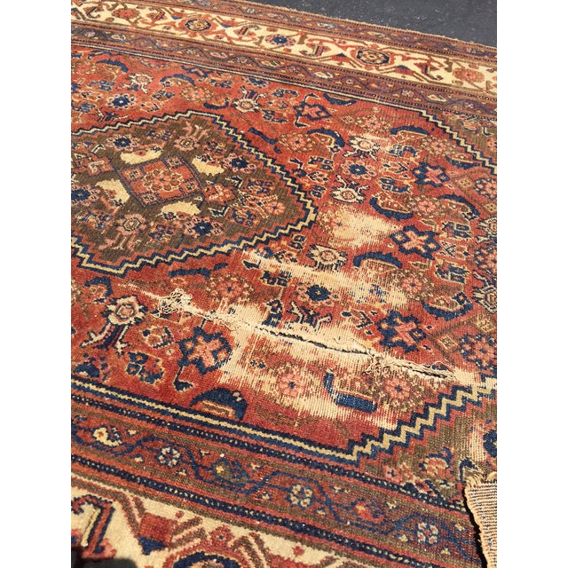 Antique Distressed Persian Rug / Wall Hanging - 4′4″ × 6′2″ - Image 10 of 10