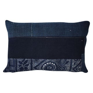 Vintage Dark Indigo Patchwork Lumbar Pillow