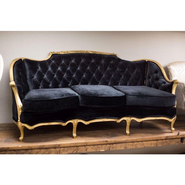 Black French Provincial Tufted Sofa Chairish