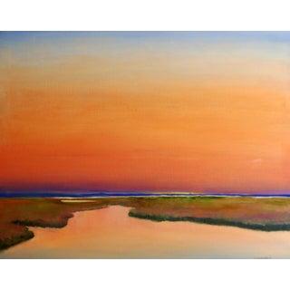 Wetland Sunset Original Oil Painting