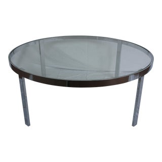Milo Baughman Chrome & Glass Round Coffee Table