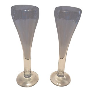 Vintage Mid-Century Crystal Champagne Flutes - A Pair