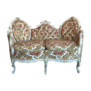 Painted French Settee with Gilt Accents