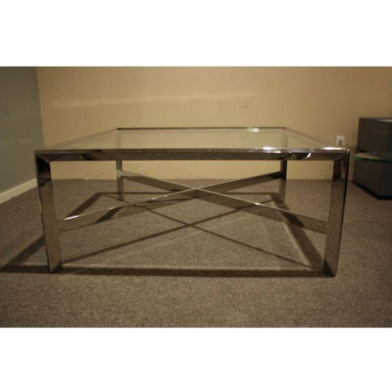 Chrome & Glass Cocktail Table - Image 3 of 7
