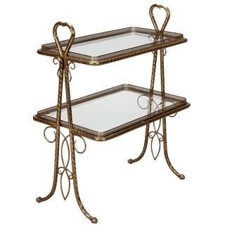 Italian Brass & Glass 2-Tier Handled Stand