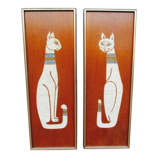 Framed Egyptian Cat Wall Hangings - A Pair