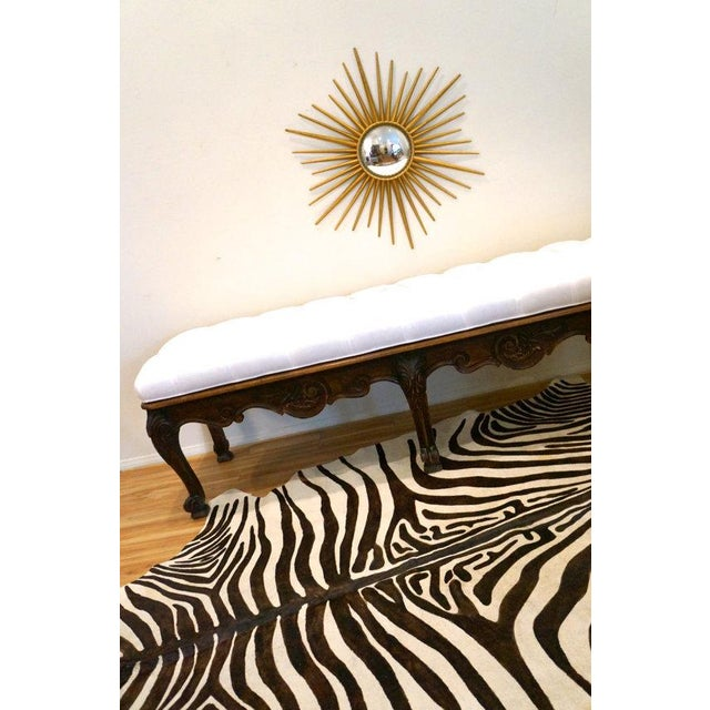Carved Wood Button Tufted Bench - Image 6 of 6
