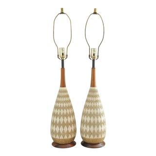 Mid-Century Teak & Ceramic Lamps - A Pair