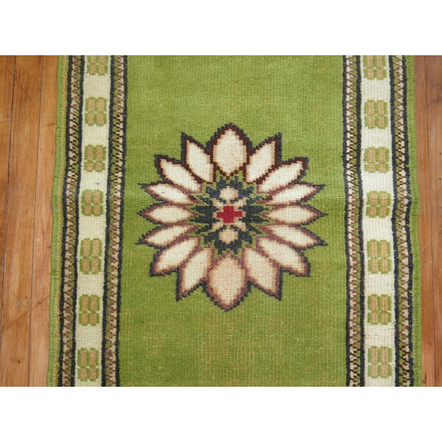 Lime Green Vintage Konya Runner - 2'4'' X 11'4'' - Image 4 of 5