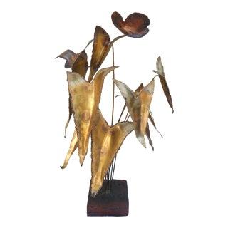Brutalist Leaves & Butterflies Sculpture