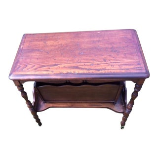 Antique Wood Magazine Side Table