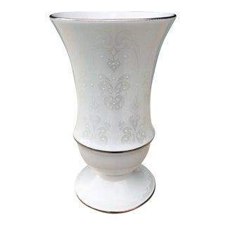 Lenox Opal White & Silver Vase