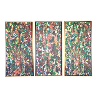 Multi-Color Abstract Framed Tryptich Painting