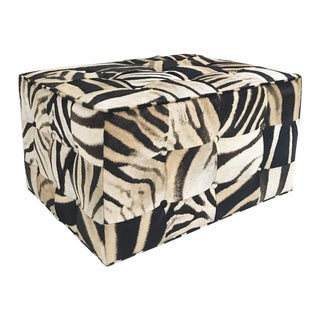 Forsyth One of a Kind Patchwork Zebra Hide Ottoman