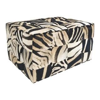 Forsyth One of a Kind Patchwork Zebra Hide Ottoman