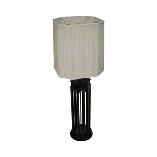 Mid-Century Modern Tommi Parzinger Style Black & Gold Table Lamp with Shade