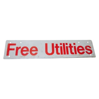 Vintage 'Free Utilities' Industrial Metal Red Sign