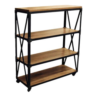 Oak & Steel Three Shelved Bookcase