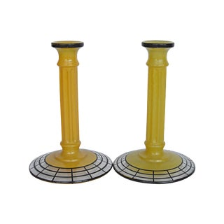 Art Deco Yellow Glass Candlesticks - Pair