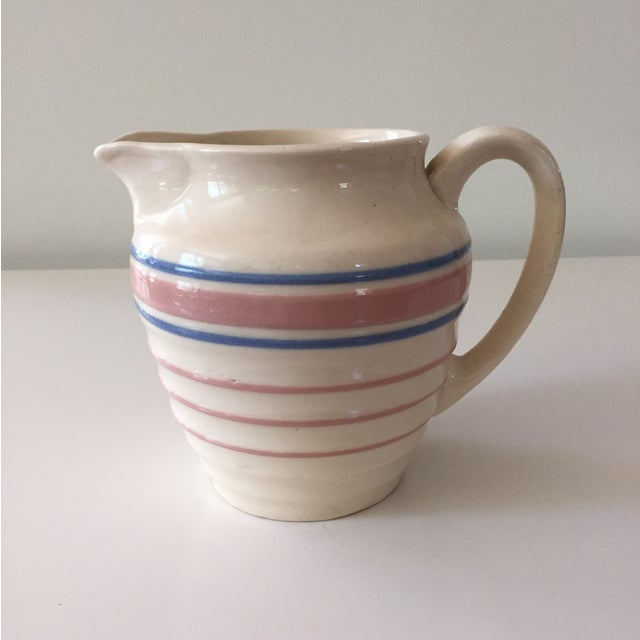 McCoy Blue and Pink Striped Pitcher - Image 2 of 3
