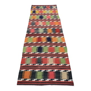 "Vintage Handmade Turkish Kilim Runner - 2'10"" X 9'10"""